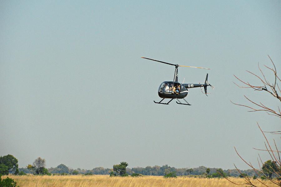 Botswana safari helicopter panoramic view